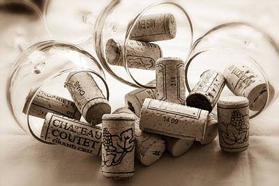 Images Of Wine Bottles Photograph - Wine Corks And Wine Glasses Toned by Georgia Fowler