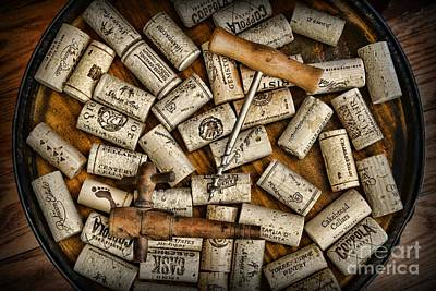 Stopper Photograph - Wine Corks On A Wooden Barrel by Paul Ward