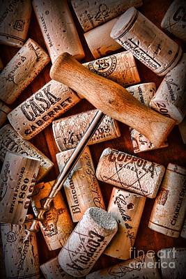 Tasting Photograph - Wine Corks With Corkscrew by Paul Ward