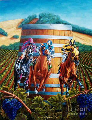 Wine Country Barrel Racing Art Print by Tom Chapman