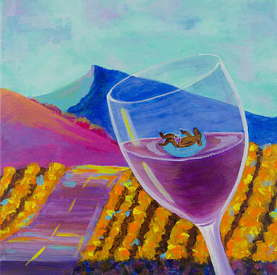 Wine Country Dog Party Original by Deb Breton