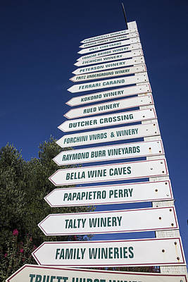 Winery Photograph - Wine Country Signs by Garry Gay