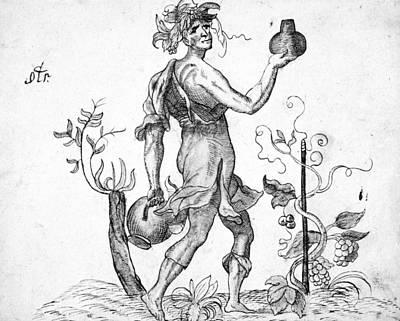 Deity Drawing - Wine Deity, 16th Century by Granger