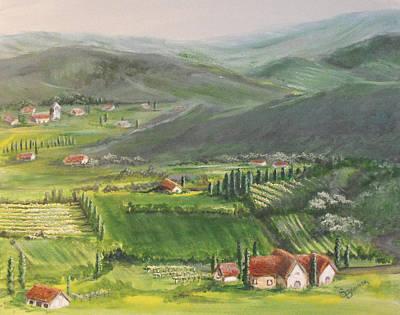 Italian Wine Painting - Wine District by Susan Bruner