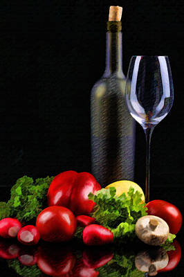 Sparkling Wines Digital Art - Wine For A Salad by Elaine Plesser