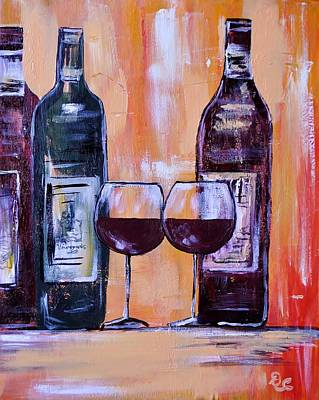 Glass Of Wine Painting - Wine For Two by Diana  Cordova