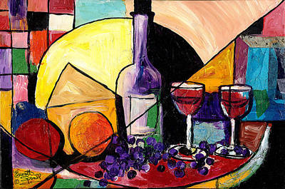 Budda Mixed Media - Wine Fruit And Cheese For Two by Everett Spruill