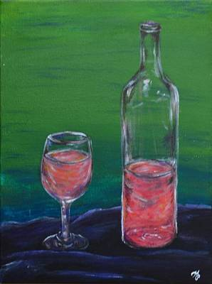 Wine Glass And Bottle Art Print