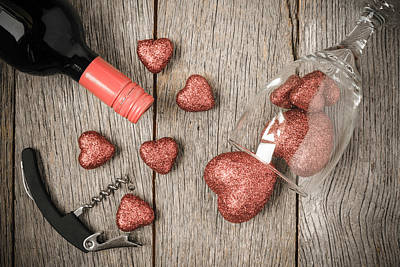 Wine Photograph - Wine Glass Corkscrew And Wine With Red Hearts On Valentine's Da by Brandon Bourdages