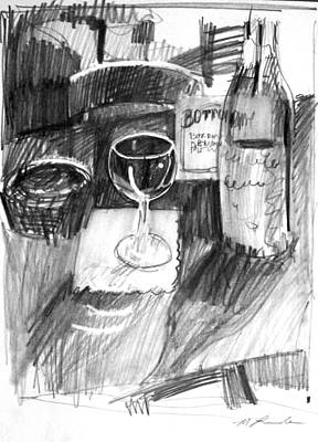 Drawing - Wine Glass by Mark Lunde