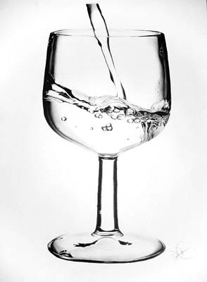 Drawing - Wine Glass Of Water by Desire Doecette