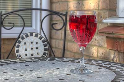 Wine Glass On Table Al Fresco Art Print by Fizzy Image