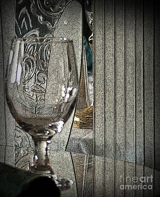 Table Wine Mixed Media - Wine Glass On Table by Dennis Tyler
