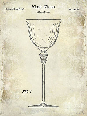 Wine Bottle Photograph - Wine Glass Patent Drawing by Jon Neidert