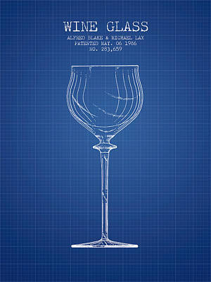Liquor Digital Art - Wine Glass Patent From 1986 - Blueprint by Aged Pixel