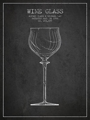 Glass Wall Digital Art - Wine Glass Patent From 1986 - Charcoal by Aged Pixel