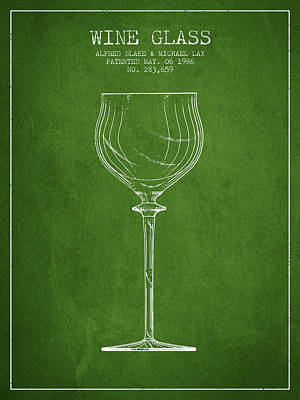 Liquor Digital Art - Wine Glass Patent From 1986 - Green by Aged Pixel