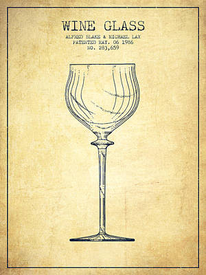 Liquor Digital Art - Wine Glass Patent From 1986 - Vintage by Aged Pixel