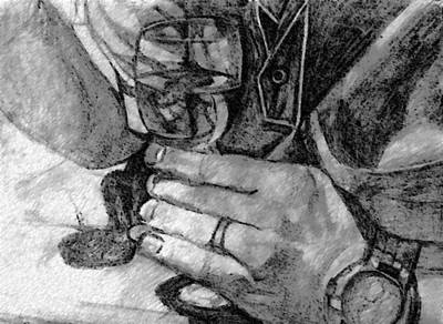 Cabernet Drawing - Wine Glass by Rosemary Bingay