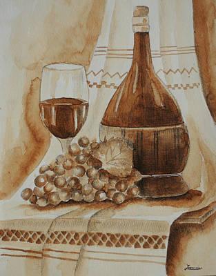 Wine Glass Wine Bottle Original by Mariana Lazarciuc