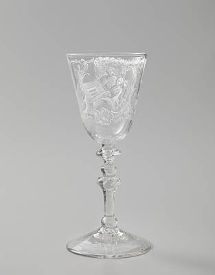 Wine Glass Drawing - Wine Glass With A Woman Behind A Spinet, Anonymous by Quint Lox