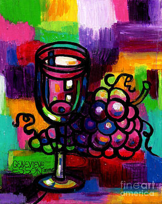 Mo Artist Painting - Wine Glass With Grapes Abstract by Genevieve Esson