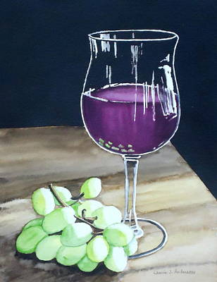 Painting - Wine Glass With Grapes by Laurie Anderson
