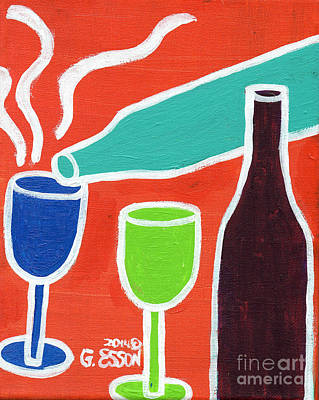 Saint Louis Artist Painting - Wine Glasses And Bottles With Orange Background by Genevieve Esson