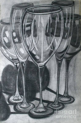 Drawing - Wine Glasses by Cecilia Stevens