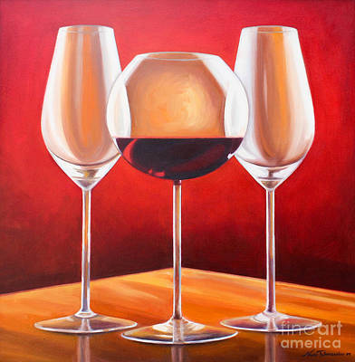 Stemware Painting - Wine Glasses by Noune Tahmassian Morse