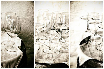 Wine Glasses Triptych Art Print