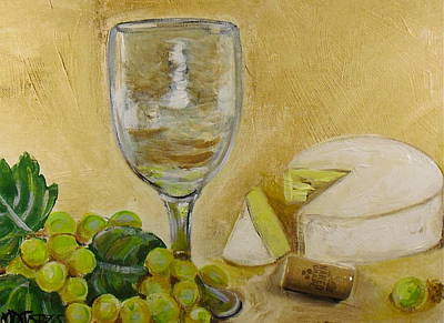 Wine Grapes And Cheese Art Print by Melissa Torres