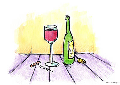 Wine Cork Drawing - Wine Illustration by Shawn Smith