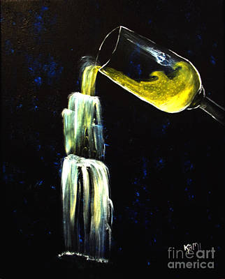 Wine Into Waterfall Art Print by Kami Catherman