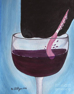 Painting - Wine Is Best Shared With Friends - Black Dog by Amy Reges