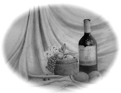 Red Wine Drawing - Wine by Jim Hubbard
