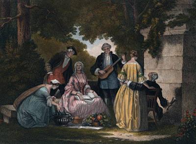 Wine-bottle Drawing - Wine, Music, Party, In The Garden, Wine Bottles by English School