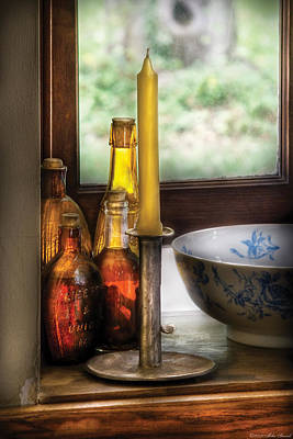 Candle Stick Photograph - Wine - Nestled In A Corner Of A Window Sill  by Mike Savad