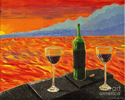 Outdoor Still Life Painting - Wine On Sunset Terrace by Vicki Maheu