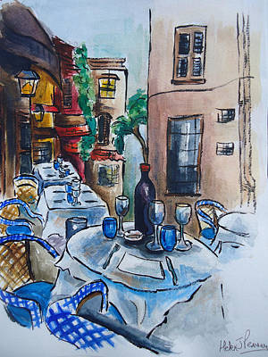 Table Wine Mixed Media - Wine On The Table by Helen J Pearson
