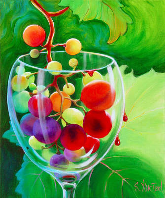 Wine Pour Painting - Wine On The Vine IIi by Sandi Whetzel