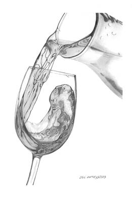 Pouring Wine Drawing - Wine Pour by Eric Mathews