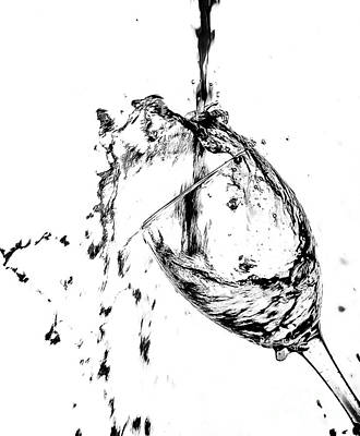 Red Wine Pouring Into Wineglass Photograph - Wine Pour Splash In Black And White 2 by JC Kirk