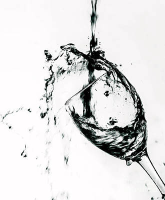 Red Wine Pouring Into Wineglass Photograph - Wine Pour Splash In Black And White by JC Kirk