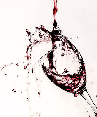 Red Wine Pouring Into Wineglass Photograph - Wine Pour Splash In Color 2 by JC Kirk