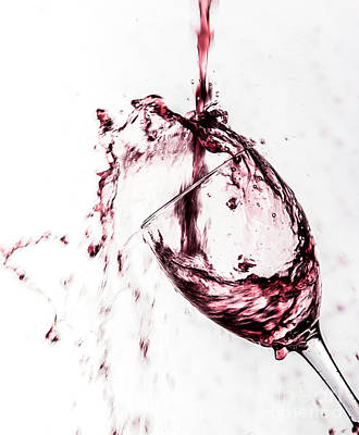 Red Wine Pouring Into Wineglass Photograph - Wine Pour Splash In Color by JC Kirk