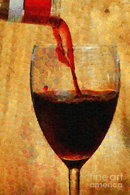 Pouring Wine Digital Art - Wine Pouring Into Glass Painting by Magomed Magomedagaev