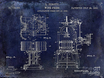 Wine Press Patent 1903 Blue Art Print by Jon Neidert
