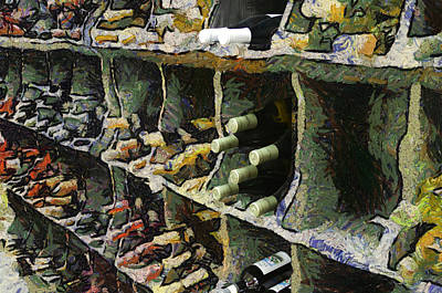 Bed Quilts Digital Art - Wine Rack Mixed Media 04 by Thomas Woolworth