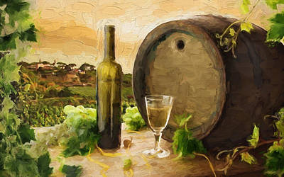 Wine Barrel Painting - Wine Scene In The Vineyard by Elaine Plesser